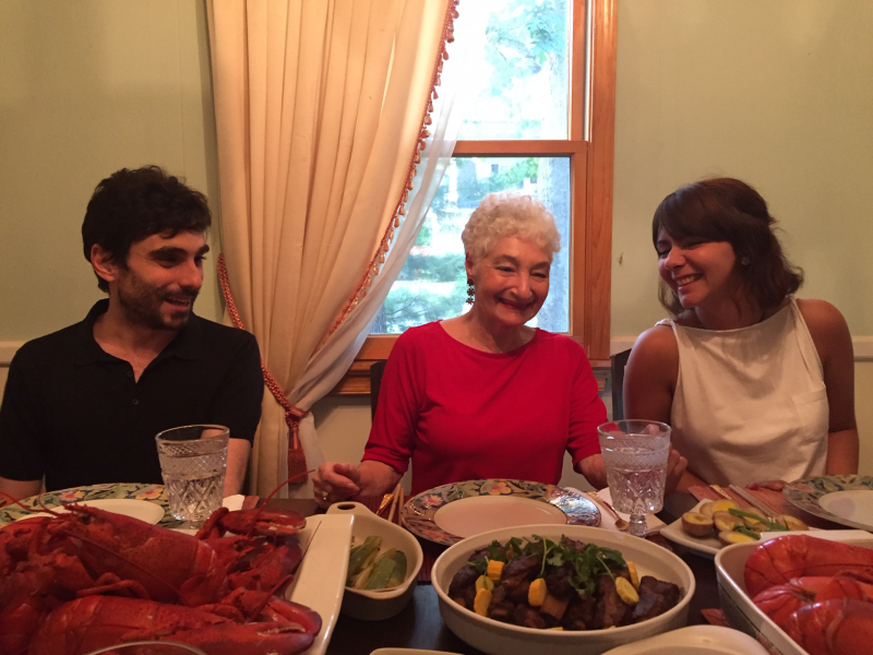 Lobster Night July 2019 with Global Scholar Dr. Jacopo Agrimi, Club Member Phyllis King, and PhD Student Antonella
